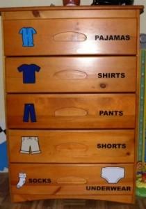 put away clothes
